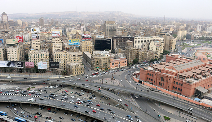 Tahrir Square — a focal point in the revolution in Egypt in 2011 — is on the right side in this photograph of Cairo. Photograph ©2015 by Brian Cohen.