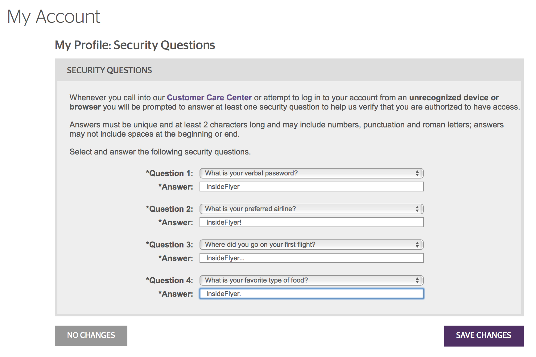 If you want to use the same answer for all four questions, you are required to vary them — as seen in this example where every answer has a variation of InsideFlyer. Source: Starwood Preferred Guest.