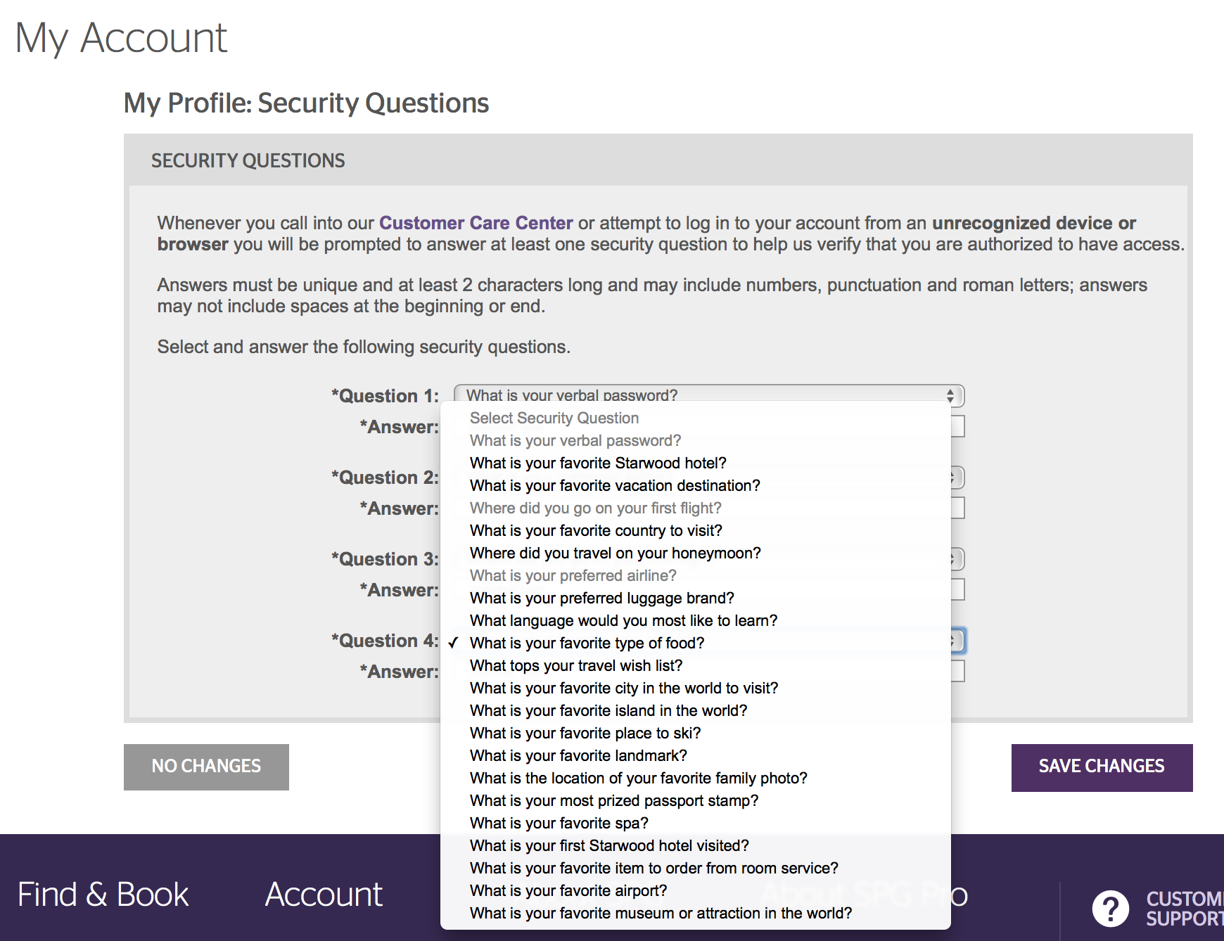 This is the list of questions from which you are required to choose to answer. Source: Starwood Preferred Guest.