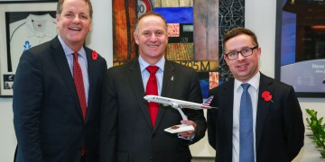 Doug Parker (AA, John Key (NZ Prime Minister), & Alan Joyce (QF)  photo courtesy; American Airlines