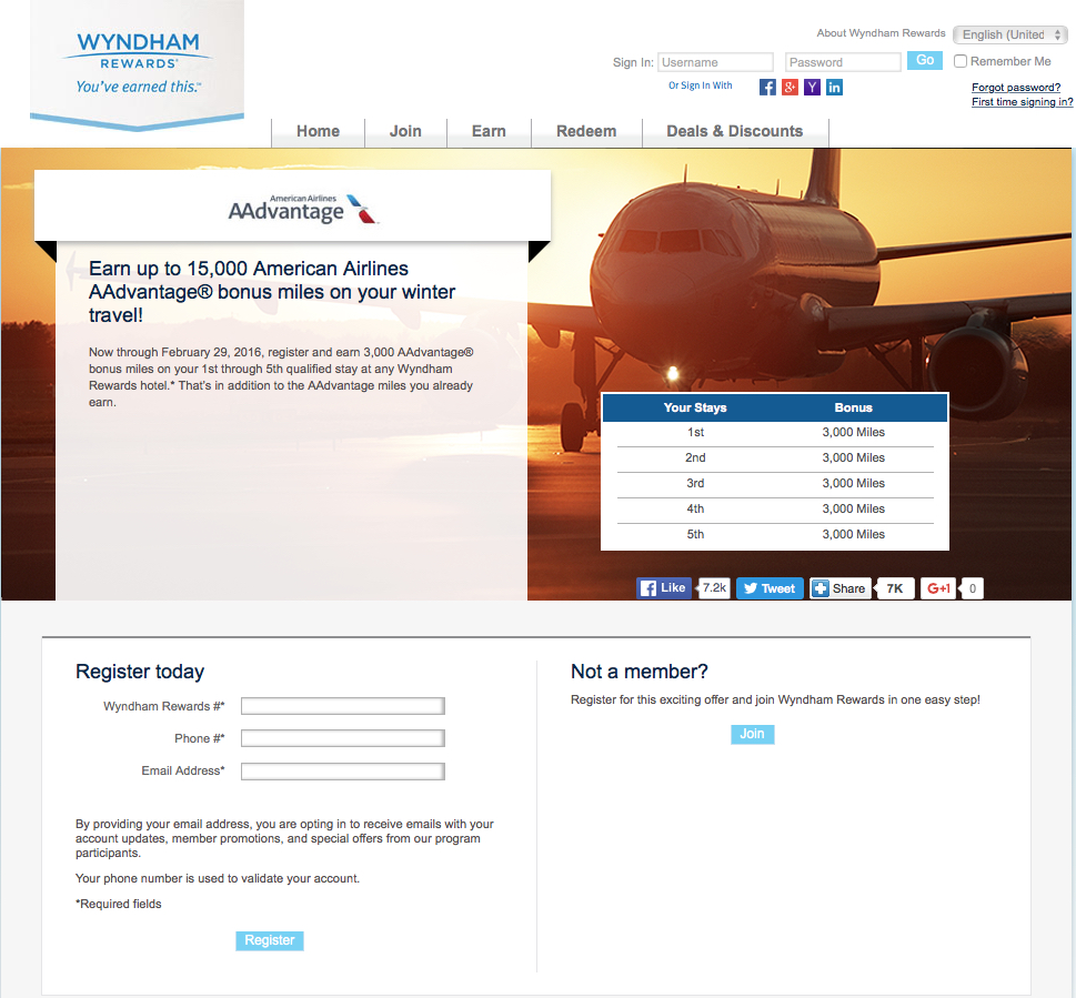 15000 American Airlines miles at Wyndham, Wyndham Resorts