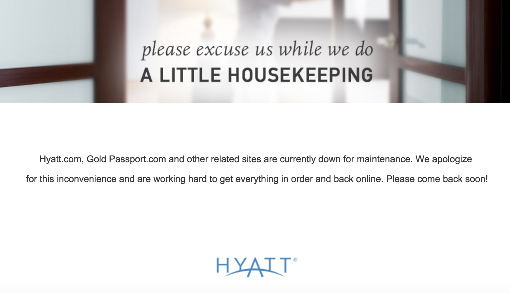 Hyatt Website Error