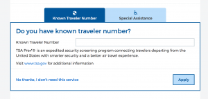 Known Traveler Entry Box on Allegiant.com
