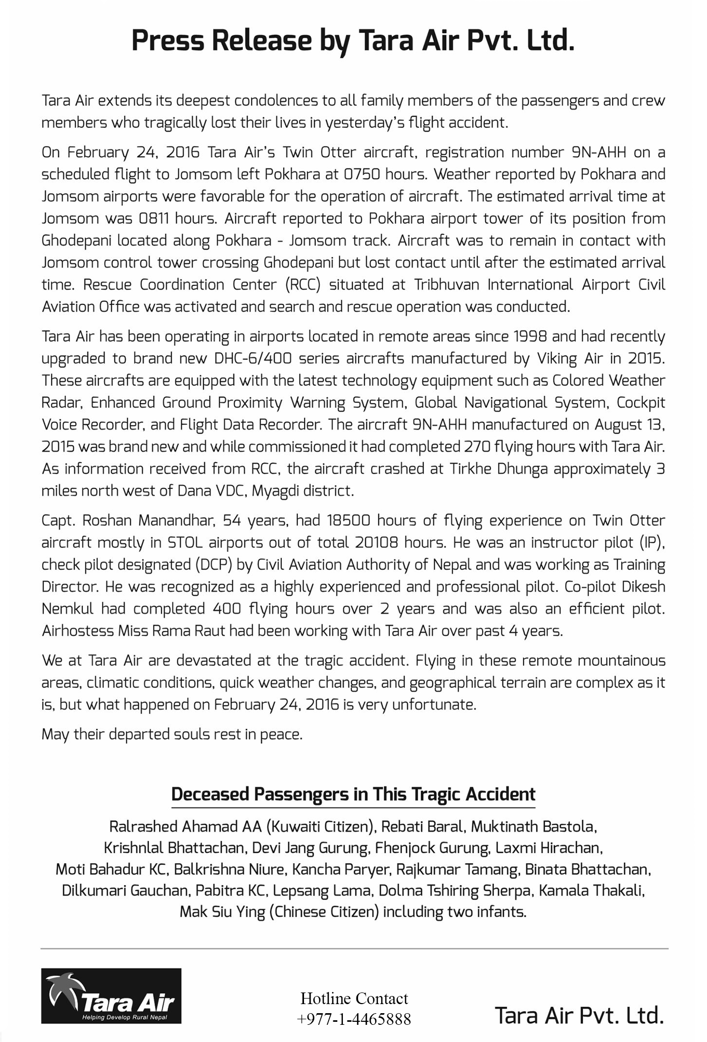 Tara Air crash Nepal