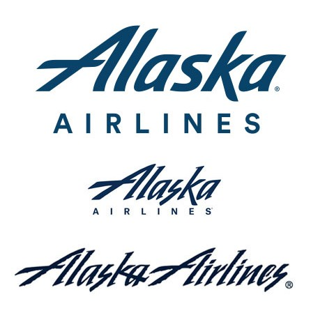 Wordmarks and logotypes of Alaska Airlines.