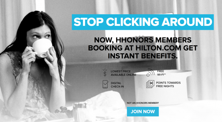 Stop Clicking Around discount for Hilton HHonors members