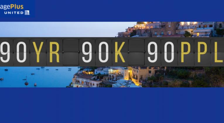 90 Years 90,000 MileagePlus Miles 90 Winners sweepstakes