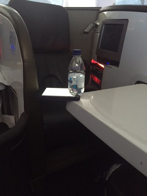 A bit of a tight squeeze with the tray table down
