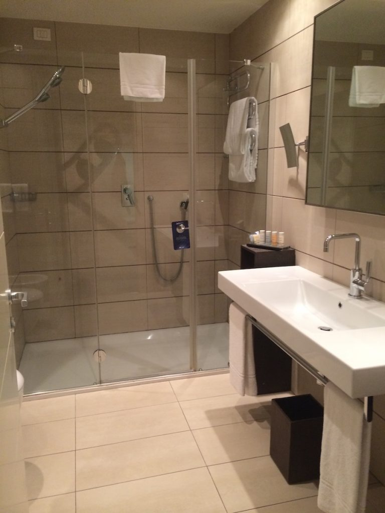 room bathroom at the Radisson Blu Milan. Debra Schroeder