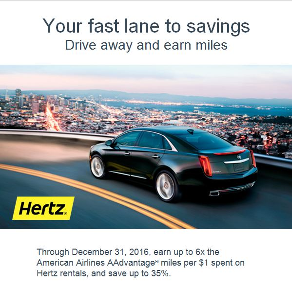 Get Up To 6X American AAdvantage Miles With Hertz