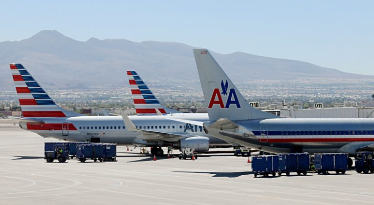 American Airlines airplanes in Las Vegas with old and new liveries