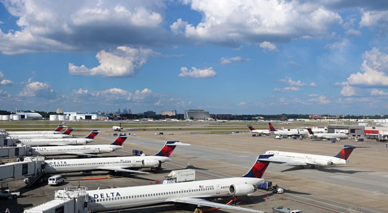 Delta Air Lines airplanes at gates Concourse B Atlanta airport