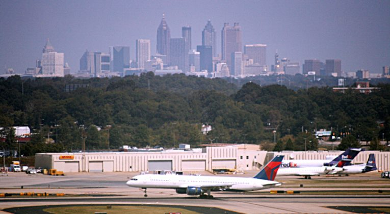 Atlanta airport with city skyline