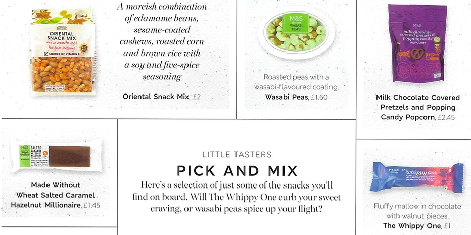 Items from British Airways' new Food on the Move menu