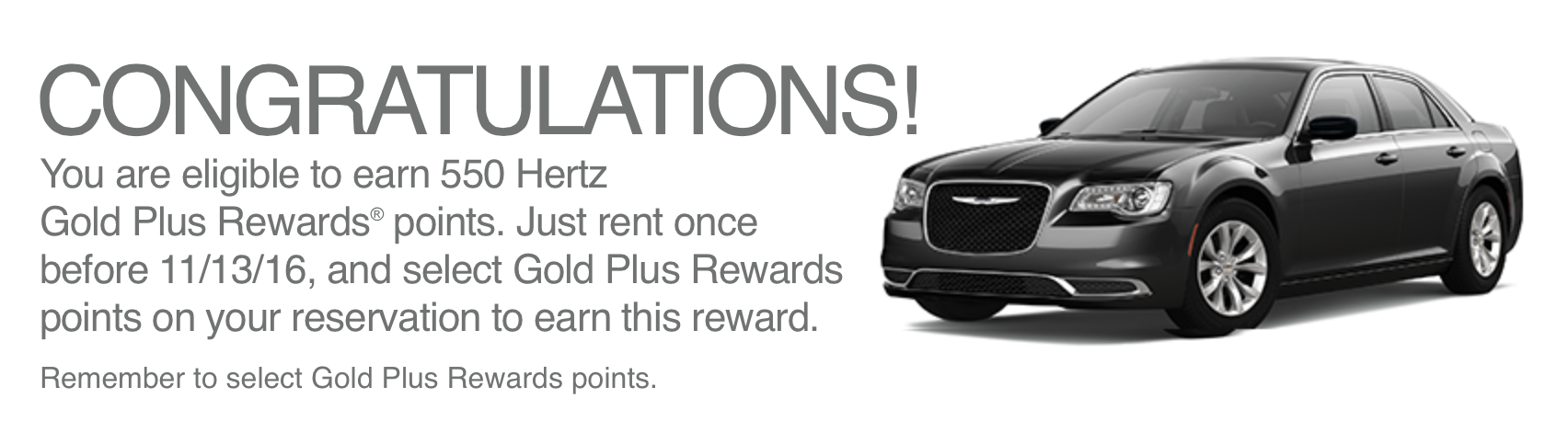 Screen shot of bonus points added to account Fall 2016 promotion