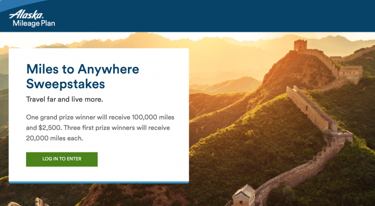 Miles to Anywhere Sweepstakes Mileage Plan