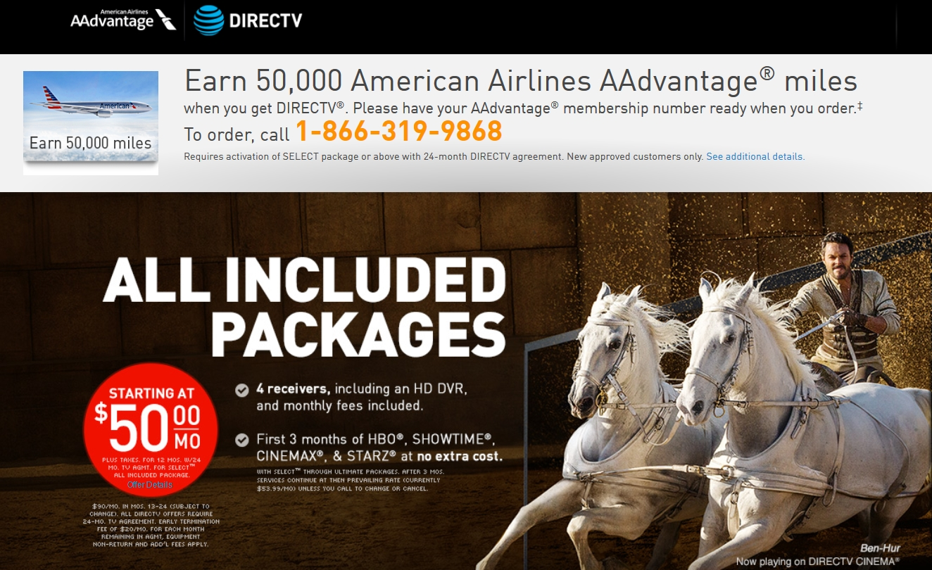 Aadvantage Members Can Earn 50 000 Miles For Directv