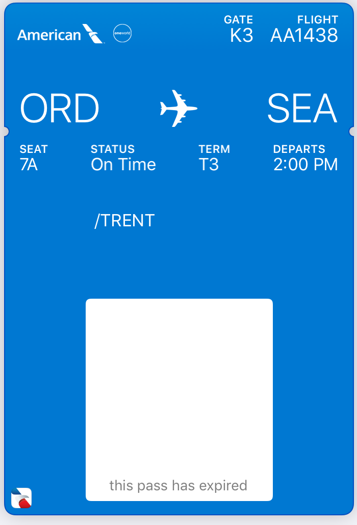 American Airlines Main Cabin Mobile Boarding Pass