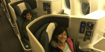 flying business class with kids