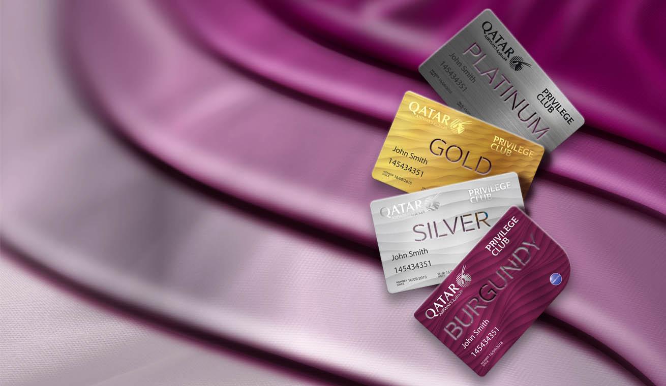 Qatar Airways Privilege Club membership cards