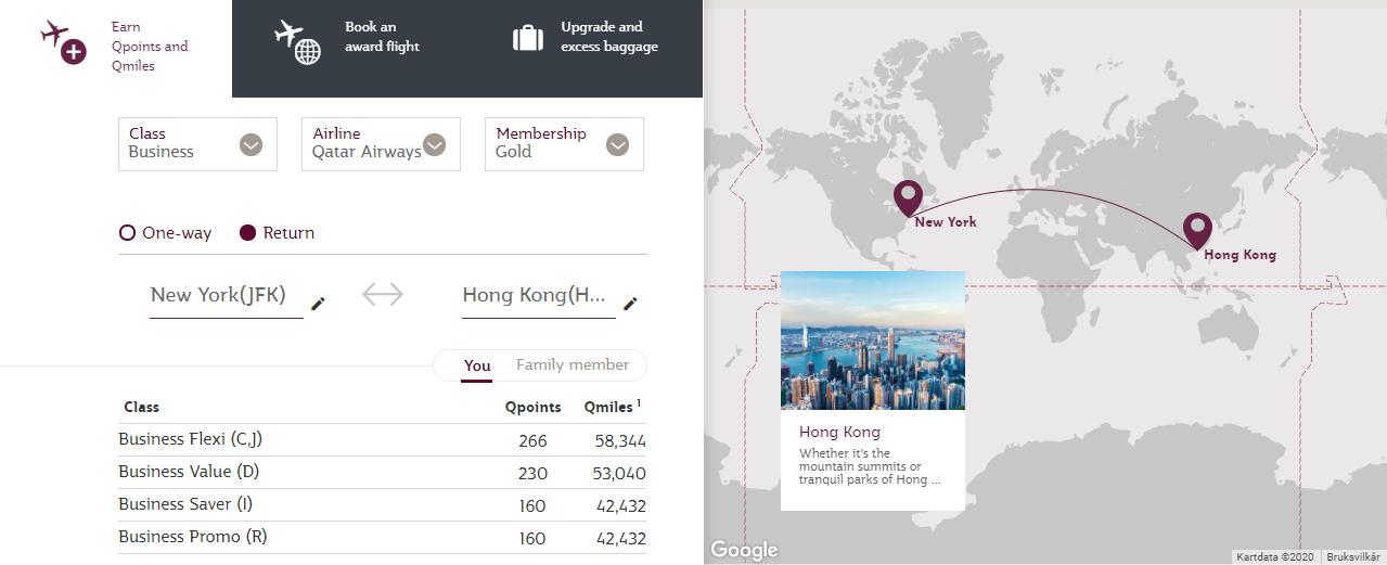 De Qcalculator van Qatar Airways helpt je om te achterhalen hoeveel punten je kunt verdienen / nodig hebt (Bron: Qatar Airways)