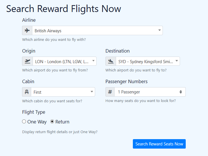 SeatSpy reward flight search query