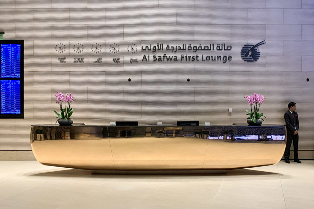 Al Safwa First Class Lounge front desk