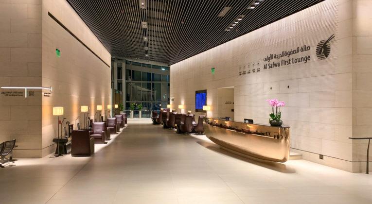 Receptie van de Qatar Airways Al Safwa First Class Lounge in Doha (Bron: InsideFlyer.com)