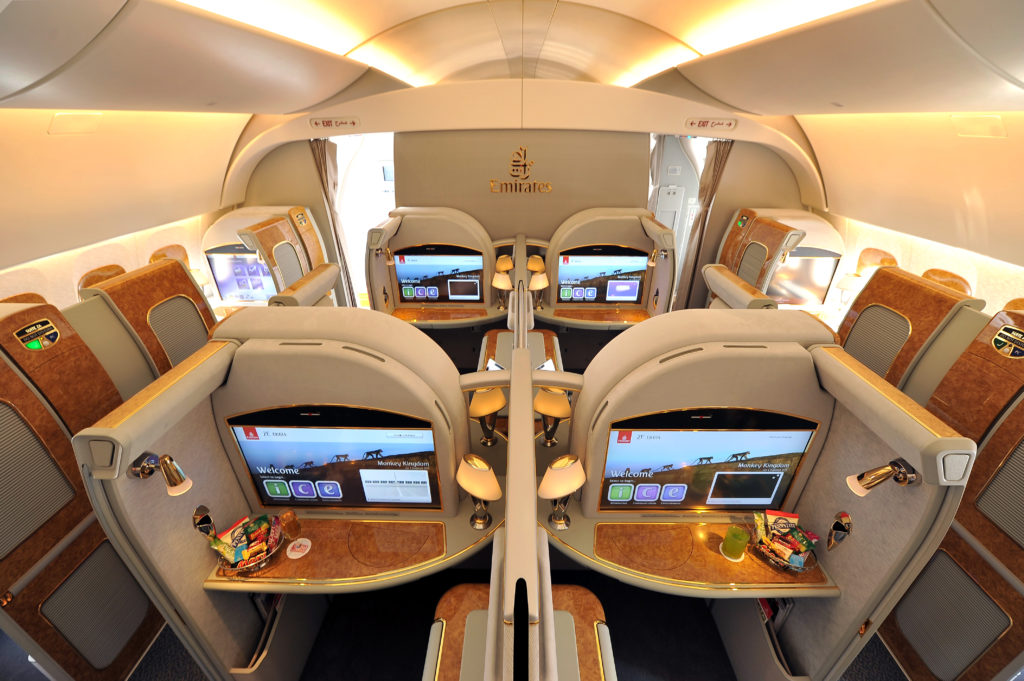 The world renowned Emirates First Class cabin aboard the Airbus A380 (Source: Emirates)