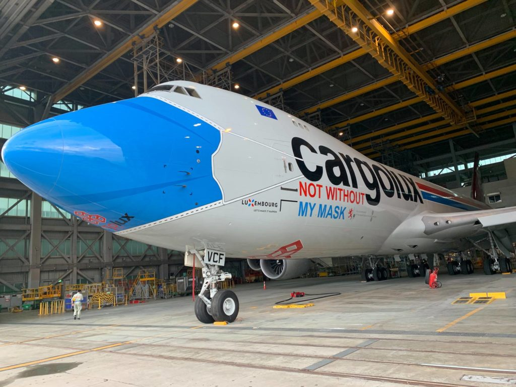 A Cargolux aircraft emphasizing the important of wearing face masks (Source: Cargolux)