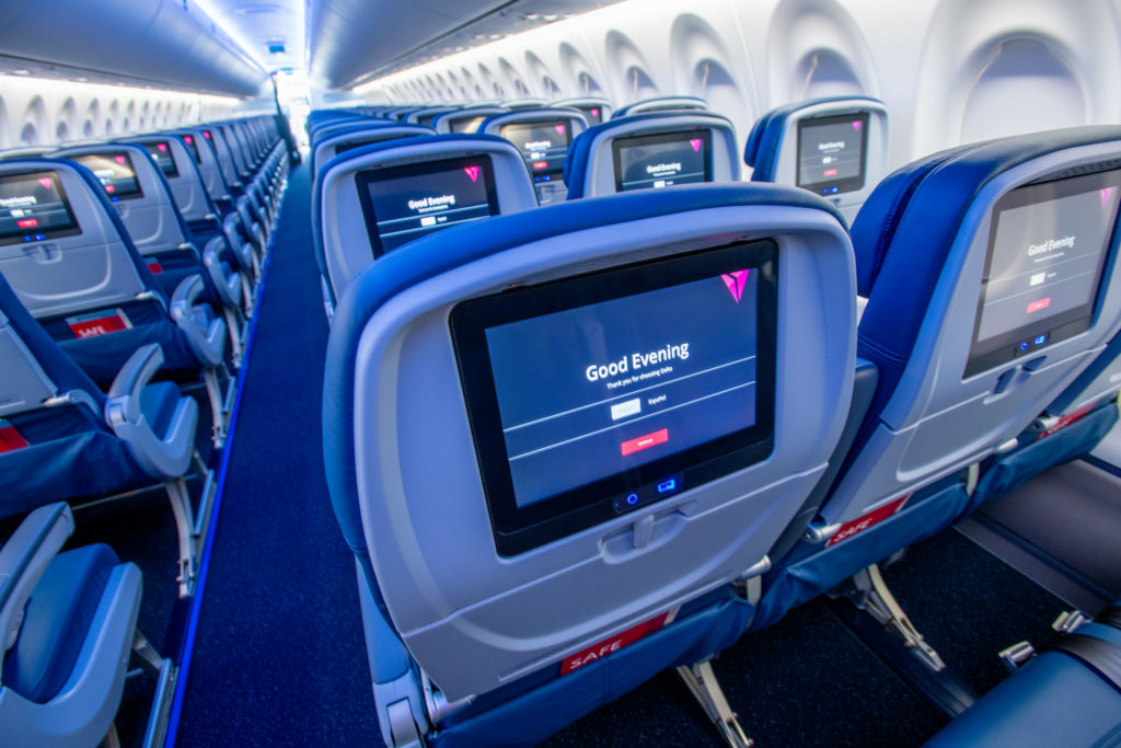 Delta Airbus A220 cabin with seat back entertainment system (Source: Delta)